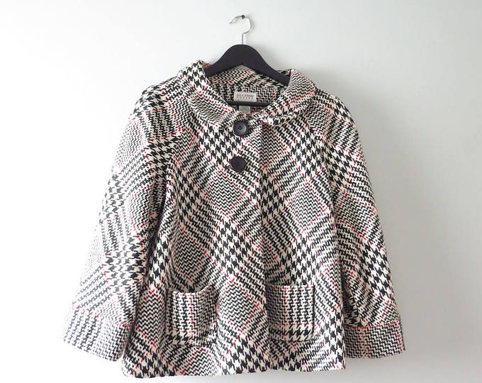 Modern | Houndstooth Coat | Allison Taylor Tweed Cropped Jacket L