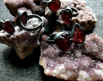 Raw garnet ring   Red Garnet ring   Adjustable Garnet ring   Rough stone ring   Raw mineral ring   January Birthstone