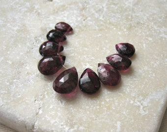 Rubellite Pink Tourmaline Faceted Teardrop Beads 6.25 x 4.75mm to 10.25 x 7mm - 9 Gemstone Briolette Beads