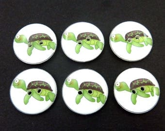 "6 Sea Turtle  Buttons.  Turtle Sewing Buttons. 3/4"" or 20 mm Round."