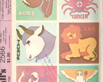 McCalls 2566  1970s ZODIAC Signs Iron-On Transfers for Embroidery Applique Vintage Sewing Craft Pattern UNCUT