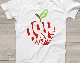 Kids shirt - 100 Days Smarter apple - fun hundred day personalized tshirt - S100A