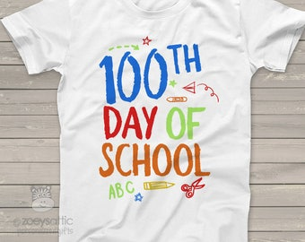 Kids shirt - 100th day of school colorful hundred day tshirt  S100T