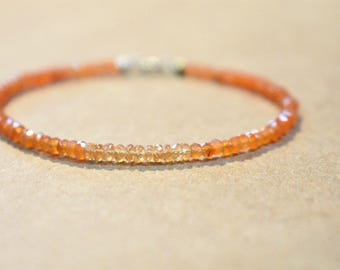 yellow sapphire and carnelian bracelet. thin stackable bracelet multi gemstone beaded bracelet. carnelian and spessartite bracelet