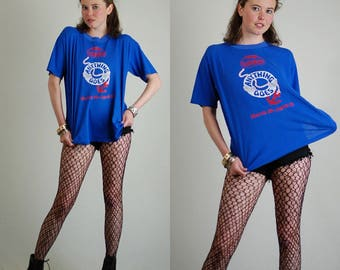 Anything Goes! Vintage 80s 90s Blue ANYTHING GOES Distressed Made in the USA T Shirt (m l)