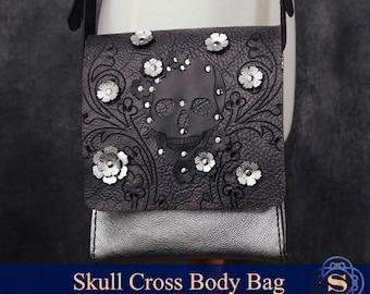 skull satchel, satchel handbags, leather satchel bag, silver stud, small messenger bag, custom satchel, silver shoulder bag, glam,