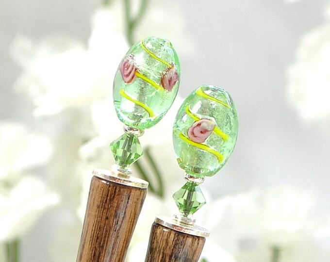 """Pair of Hair Sticks Green Hairsticks Hair Chopsticks Japanese Hair Pin - """"Misty Morning"""""""