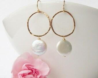 Coin Pearl Circle Dangle Earrings, Pearl Dangle Drop Earrings