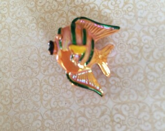 Vintage GERRY'S Signed Enamel Gold Fish Jewelry 1950s  Pin
