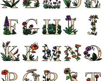 Floral Letter Monogram - Alphabet - Letter Set - Ready for Print - Clip Art Letters - Flowers
