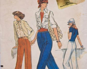 1970s Very Easy Vogue 9413 Straight Leg Pants Side Front and Back Seams Front Zipper High Waist Pants Sewing Pattern UNCUT Waist 28""