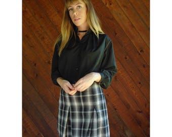 Silky Black Secretary Blouse with Piping - Vintage 80s - S