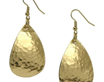 Hammered Gold Teardrop Earrings, Hammered Gold Earrings, Hammered Brass Dangle Earrings, Hammered Gold Drop Earrings, Large Gold Earrings