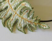 Fiber Art Fern Leaf Headband Hairband Botanical Hair Accessory Woodland Natural History Nature Lover Gift for Her Free Shipping