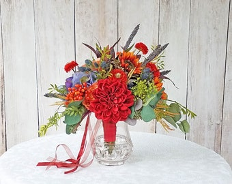 Bridal Bouquet with Red Dahliads and Orange Sunflowers for your Fall Wedding