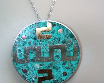 SALE...Large 925 Sterling Silver Native American Navajo  Turquoise Pendant Necklace  - STUNNING