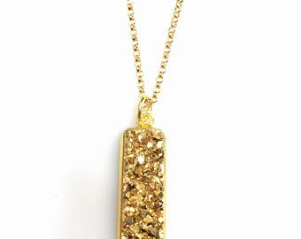 Gold Glitter Druzy Bar Necklace