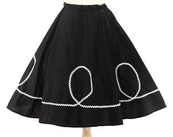 50s Retro Black Circle Skirt with White Ric Rac Loops - Vintage Inspired for Pinup, Swing, 50s Style - size Small / Medium