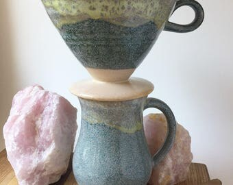 Handmade Ceramic Pourover Set - Coffee Pourover- Drip Coffee Pour Over Set with Coffee Mug- Blue