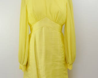 on sale Vintage Sunshine Yellow Party Dress Long Puff Sleeves 1960s