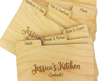 Custom Engraved Wood Recipe Dividers - (Set of 9) with Tabs - Add Personalized Text to recipe dividers for Gift for the Cook in your life