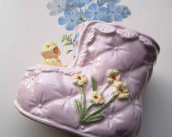 Vintage Baby Container ~ New Arrival Planter ~ Pink Booty ~ Yellow Chick ~ Baby Shower ~ New Parents ~ Vintage Floral Supple ~ Inarco Japan