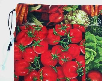Bulk Bin Bags - Set of 2 Reusable Cotton Produce, Market, or Gift Bags - Drawstring Potato and Onion Storage - Choice of Prints