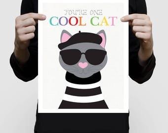 beatnik cat print - cool cat art - wall art, nursery art, cat lover boy or girl, kitten illustration, kids, children, animals, pets, funny