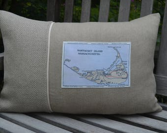 Nantucket Map Postcard Pillow  (available in 4 styles)