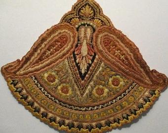 Antique Silk Applique Art Nouveau Gorgeous