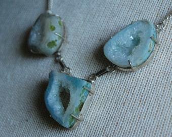 Vintage 925 Sterling Silver Agate Druzy Geode Slice Trio Necklace | Raw Gemstone | Blue Green Ocho Agate Slice Pendants | Vintage Bohemian