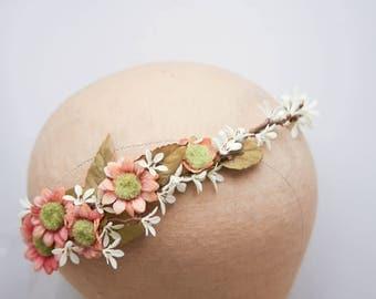 Rustic Floral Hair Vine of Peach and Ivory Daisies Woodland Wedding Hair Halo Flower Crown Boho Wedding Bridal Hair Wreath