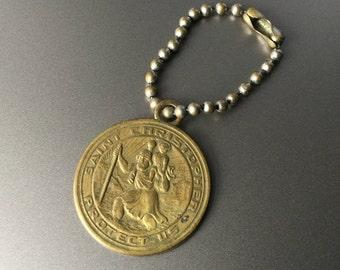 Antique Saint Christopher Medal KeyChain from San Juan Capistrano California - Patron Saint of Travelers