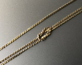 3 Strand S Chain Love Knot Bracelet - Vintage Eternity Knot Signed Snake Chain Bracelet - 1/20 14K Gold Filled
