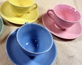 Vintage Lu Ray Pastels Taylor Smith &Taylor Tea Cup and Saucer Set, 3 Color Choices, Mid Century China, Collectible Tableware