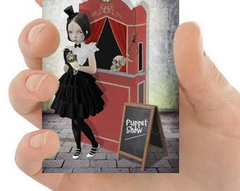 Puppet Show ACEO Card - Girl & Puppets - Artist Trading Card - The Show Must Go On