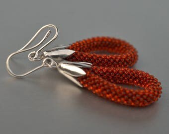 Dangle earrings  silver, rust brown glass beads