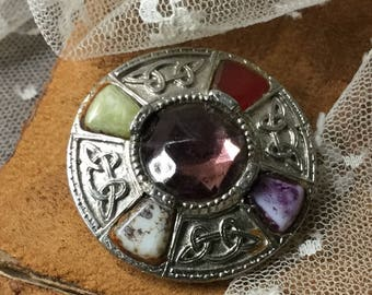Noble Amethyst Glass Agate Gemstone Silver Tone Celtic Knot Brooch Pin Unsigned 1960's 1970's Round Circular Repousse Green Red Purple White