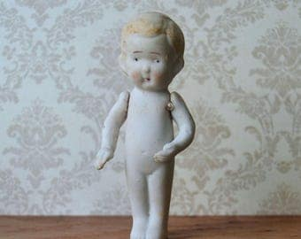 "Vintage Bisque Boy Doll Jointed Arms 4"" Japan"