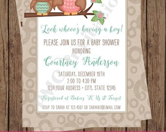 Custom Printed Boy or Girl Owl Baby Shower Invitations - 1.00 each with envelope