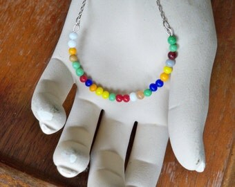 Multi color beaded Necklace - Half Moon shape - 3mm to 4mm size beads - Silvertone chain - bycat