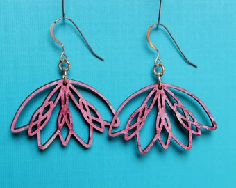 Botanical Earrings. Womens Yoga jewelry. Wood lotus earrings. Painted boho earrings. Pink & red earrings. Lotus earrings. Zen lotus earrings