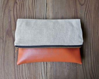 Linen and Orange Foldover Clutch