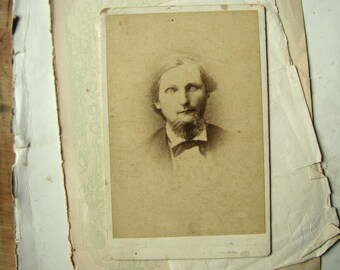 antique photograph - antique ghost of a man - cabinet card character portrait
