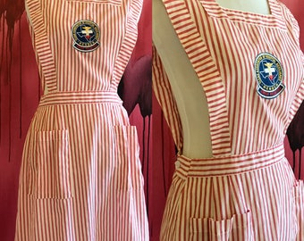 Vintage Candy Striper Dress Volunteer Nurse Uniform, Vintage 1950s Red and White Apron Pinafore Dress Nurse Costume Jumper Dress