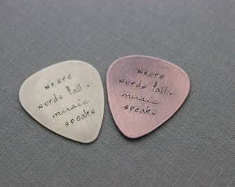 where words fail, music speaks - Rustic Guitar Pick, Hand Stamped Copper Guitar Pick, Playable, Inspirational, 24 gauge, Gift for musician