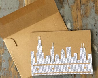 Chicago Skyline blank card. Recycled envelope