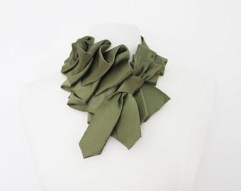 Katherine - Olive Tuxedo Satin Couture Ruffle Necktie Scarf