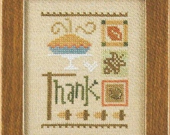 Lizzie Kate Celebrate with Charm Flip-It Series - Thank F169 Thanksgiving Counted Cross Stitch Pattern