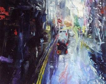 Rain, rain...  - unique and original oil on canvas painting